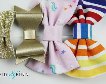 SALE Rainbow Unicorn Hairbow SET of 4 Hairclip headband Holiday rainbow pink gold glitter