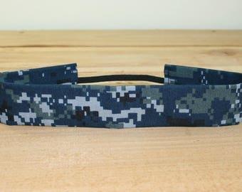 Adult Headband Military Blue Digital Camo