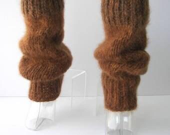 Hand Knit Extra Thick WIDE Seamless Leg warmers Brown WOOL MOHAIR / Wearable Fiber Art / Dance / Yoga