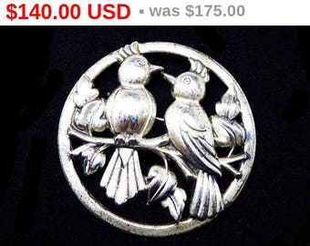 Spring Fling Sale Rare Coro Sterling Bird Brooch - Signed Norseland Sterling -   1940's Vintage Mr & Mrs Bird Sitting on a Tree Branch - ...