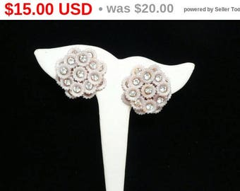 Pastel Pink Rhinestone Flower Earrings - 1940's 1950's Clip on Style Plastic Jewelry - Early Mid Century Vintage Fashion