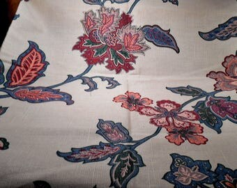 Vintage Fabric Cotton Remnant Dated 1989 Pink Green florals