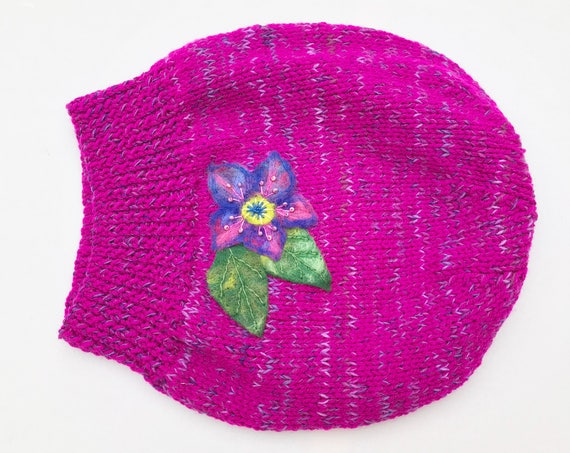Fuchsia Slouch Hat - Funky Pink Slouchy Hat with Felted Flower - Vibrant Pink Slouchy Hat - bright pink hat for winter - cosy and warm hat!