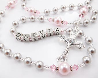 Gray and Pink Personalized Rosary - Baptism, First Communion, Confirmation Swarovski Crystals