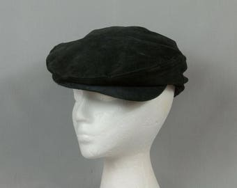 Newsboy hat Newsboy cap Black leather Fleece lined Winter newsboy hat Extra Large Snap on bill Excellent condition Cabbie style hat