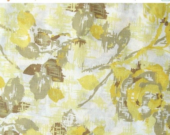 ON SALE cotton fabric by the yard - yellow abstract rose print on off white - 1 Yard ctnp204