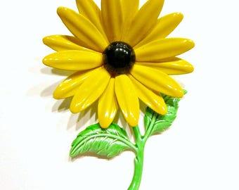 "Vintage Yellow Daisy Enamel Brooch 3 1/4"" Bright Flower Jewelry Gift Idea for Mom Flower Pin Gift Idea Under 20"