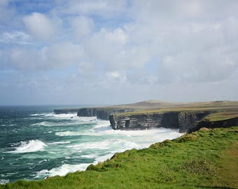 Ireland, Irish, Celtic,  Loop Head Peninsula, West Clare, Turquoise, Cliff, Greens, Wild Atlantic Way, Green, Fine Art Photography, Sofa Art
