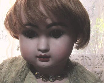 Human hair doll wig for antique vintage baby doll hand planted hair vintage wig