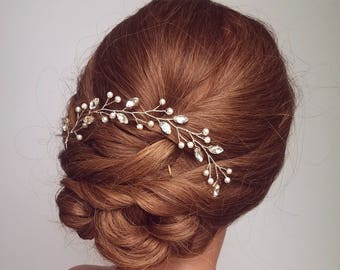 Wedding Vine Hair Piece, Bridal Hair Vine, Gold Headpiece, Wreath, Tiara, Beaded Hair Vine, Hairpiece, Crystal Hair Vine, Pearl Hair Piece