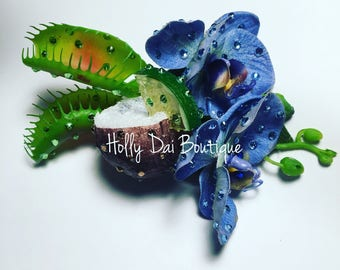 Tiki Drink Coconut Tropical Orchid Venus Flytrap Hair Flower