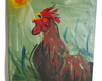 Mr Rooster, Folk Art Original Painting, Fine Art, Kitchen Decor, Wall, Artwork, Fine Art, Canvas, Red, Green, Yellow,