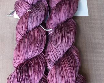 Deep Plum Wine - Hand Dyed Silk Heavy Lace Yarn