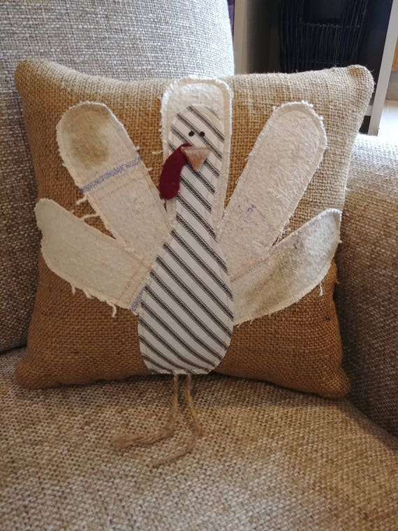 decorative turkey burlap pillow