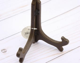 "6"" wooden easel bronze, plate holder to display scrapbook, plate holder, wooden easel, bronze easel,"