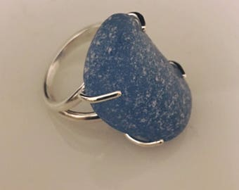 Statement Ring Large Cornflower Sea Glass and Sterling Silver