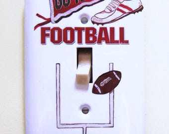 Football Steel Single Lightswitch Cover, Man Cave Gift, Sports Fan Gift, Football, Goal Post, Football Banner