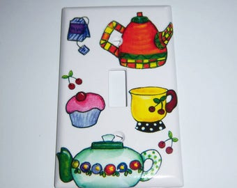 Tea Time Single Light Switch Cover, Kitchen, Colorful Teapots, Tea Cup, Cupcakes