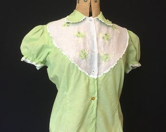 1950s vintage Charm Of Hollywood rhinestone trimmed fitted green blouse with puffed sleeves and Peter Pan collar