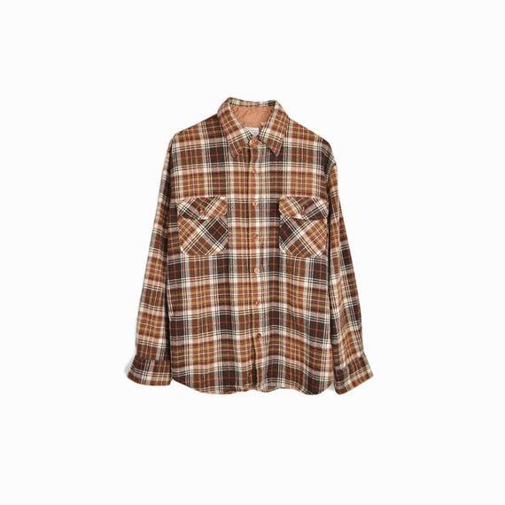 Vintage 70s Brown Plaid Wool Shirt / Boyfriend Shirt - men's medium