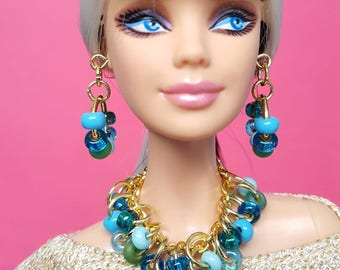 Barbie doll jewelry set gold with blue and green Czech glass beads