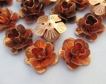 6pcs Copper Flower 22mm Metal Rose Loose Findings f066