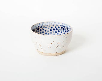 Matcha green tea bowl, Gift for her, Polka dot bowl, Handmade tea bowl, Shawan bowl, Danish unique bowl, Breakfast bowl Farmhouse style bowl