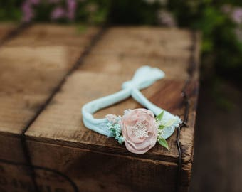 Mint and peach stretchy tie back Headband