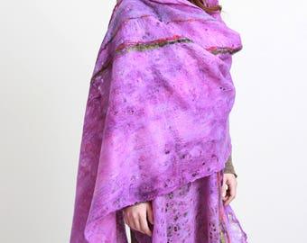 Felt purple Shawl, Felt Wrap Shawl, Large Shawl, cobweb shaw, light shawl, Felt Cape, Wrap Shawl, Handmade pink scarf, made in Europe scarf