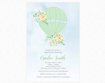 Hot Air Balloon Baby Shower Invitation , Gender Neutral, Personalized, Printable or Printed