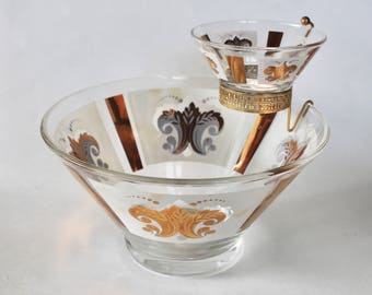 Vintage 1960's Mid Century Serving Bowl - Anchor Hocking Fleur de Lis Gold and White Glass Bowl with Dip Bowl and Stand