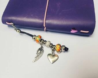 Heart, Angel wing, travelers notebook, planner accessories, travelers notebook accessories, charms, planner charms, planner accessories