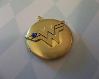 Wonder Woman Locket - D.C. Comics Originals - Gold with Blue Rhinestone - Wonder Woman Logo on Inside Cover - Qty 1