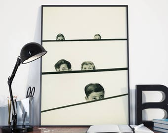 Pop Art Poster, Surreal Child Portrait, Black and White Minimalist Art - Hide and Seek