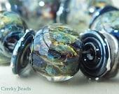 "Handmade Lampwork beads ""Deep Blue/Green fairy wings "" - Creeky Beads SRA"