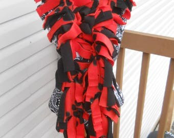 Handmade Red and Black Paw Prints Fleece Boa Scarf