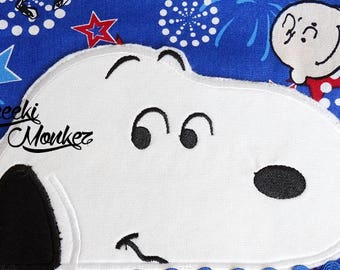 Ready to Ship RTS Boutique Custom C Brown Peanuts Snoopy Peeker inspired embroidery Applique Iron On Patch DIY 5x7