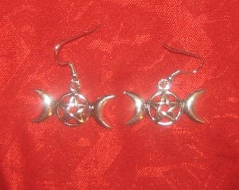Silver Plated Mystical Pentacle Pentagram Triple Moon Goddess Charm Dangle Earrings