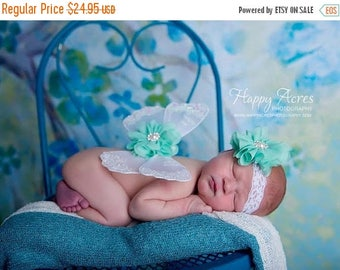 ON SALE NEWBORN Wings, white and ming wings with headband set, Angel Wings, newborn photography prop, baby wings, fairy wings