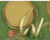 """ON SALE 2 yard roll antique silk satin woven ribbon cream ecru shade 1/4"""" narrow french dolls sturdy ribbonwork sturdy millinery sewing disp"""