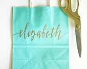 Custom gift bags + Wedding gift bags + Bridal shower gift bag + Tiffany Blue + Turquoise Bachelorette Party bags + Welcome Bags Handwritten