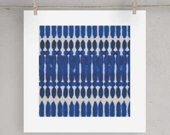 Shibori Indigo Print Wall Art  5X5 8X8 12X12 Matting Options