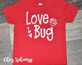 Valentine's Day Shirt, Love Bug Shirt, Red Shirt, Toddler Shirt, Red Short Sleeve Shirt, Heart Shirt