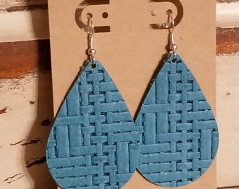 Leather Earrings, Leather Jewelry, Basket Weave, Teal, Turquoise, Statement Earrings, 100% Leather, Tear Drop, Lightweight