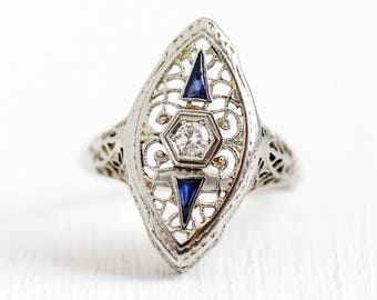 Filigree Shield Ring - Vintage 18K White Gold Created Sapphires & Diamond Ring - Size 7 1/4 Antique Art Deco 1930s Blue Gem Fine Jewelry