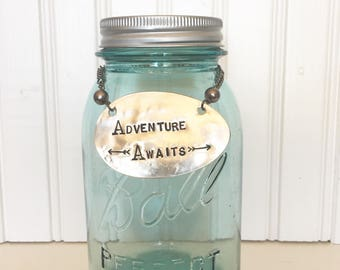 Adventure Awaits | Piggy Bank Made From Vintage Spoon
