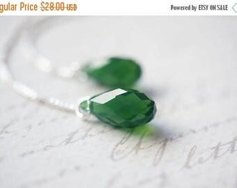 SALE Earrings, Threader Earrings, Emerald Earrings, Crystal Earrings, Silver Earrings, Swarovski Crystal, Palace Green Opal, No. EST032