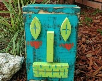 Table Top Tiki Man, Secret Compartment, Wood Sculpture, Primitive Decor