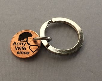 Army Wife since Penny - Army Wife Keychain - Soldier Mom - Army Gift - Military Gift - Army Necklace - Army Jewelry -