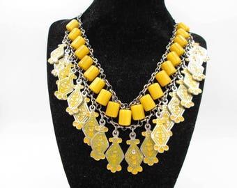 Unique Vintage Silver-tone Egyptian Bakelite & Yellow Enamel Bib Statement Necklace - Butterscotch Bakelite Necklace